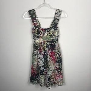 Candie's Floral Corset Sleeveless Green Pink Dress